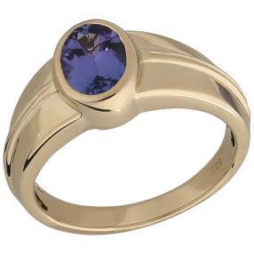 STAR Ring 585 Gelbgold AAAA Tansanit, poliert