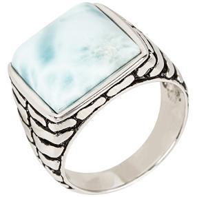 Ring 950 Silber rhodiniert Larimar, ca. 10,00 ct.