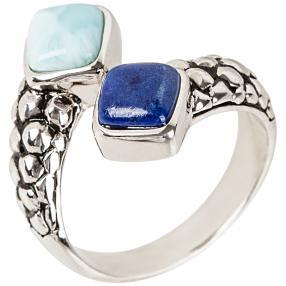 Ring 950 Silber rhodiniert Larimar und Lapis
