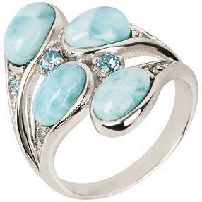Ring 950 Silber rhod.  Larimar Blautopas behandelt