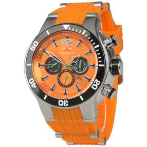 "deLorean Herren-Automatikuhr ""Highway"" orange-blau"