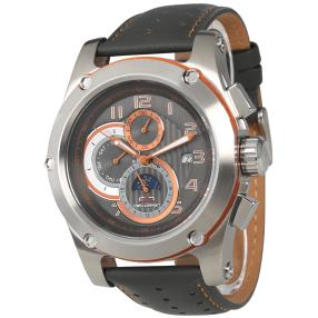 "deLorean Herren-Automatikuhr ""Orbit"" grau-orange"