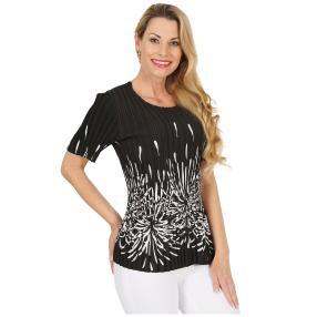 Jeannie Plissee-Shirt 'Ava' schwarz/weiß