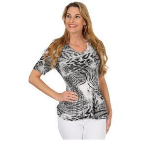 Jeannie Plissee-Shirt 'Amina' schwarz/weiß