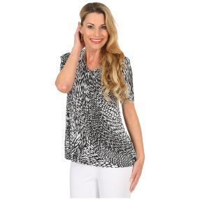 Jeannie Plissee-Shirt 'Alima' schwarz/weiß