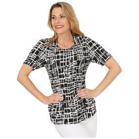 Jeannie Plissee-Shirt 'Ashlee' schwarz/weiß