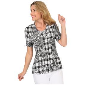 Jeannie Plissee-Shirt 'Adina' schwarz/weiß