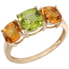 Ring 375 Gelbgold Peridot Citrin