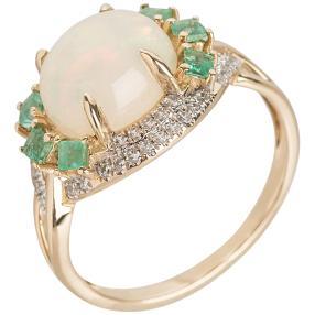 Ring 585 Gelbgold, Äthiopischer Opal, poliert