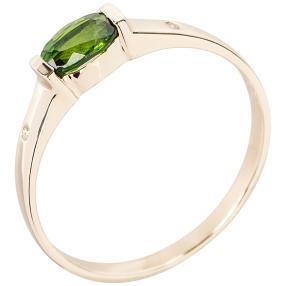 Ring 375 Gelbgold Chromdiopsid, grün