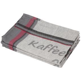 Geschirrtücher 3er Set Kaffee grau-rot 50x70 cm