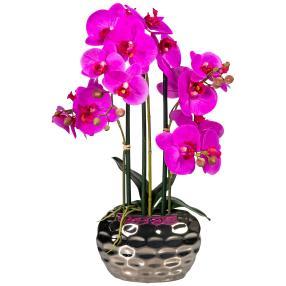 Orchidee lila 55cm in der Silberschale