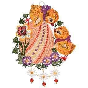 Plauener Spitze Fensterbild Vögel Blumen Osterei