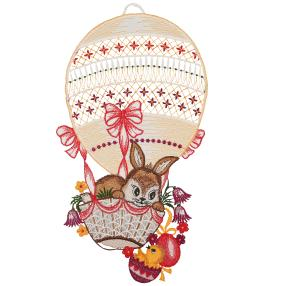 Fensterbild 'Osterhase im Heißluftballon'