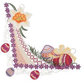 Plauener Spitze Fensterbild weiße Blume Ostereier