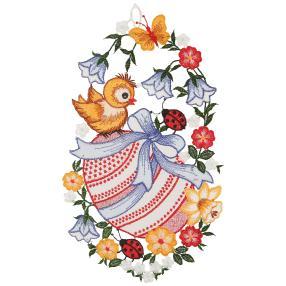 Plauener Spitze Fensterbild 'Blumen + Osterei'