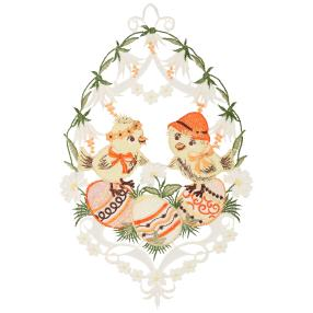 Plauener Spitze Fensterbild Ostern weiße Blumen