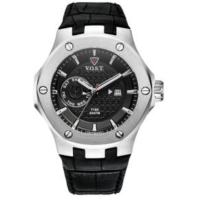 V.O.S.T Herrenuhr Quarz Multifunktion Lederband