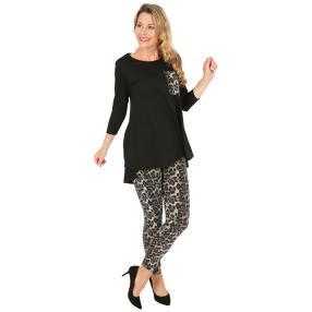 2er Set Shirt & Leggings schwarz/weiß/grau