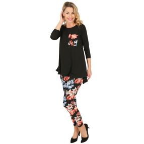2er Set Shirt & Leggings schwarz, Blumenprint