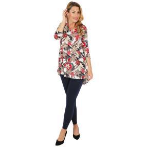 2er Set Shirt & Leggings dunkelblau, Blätterprint