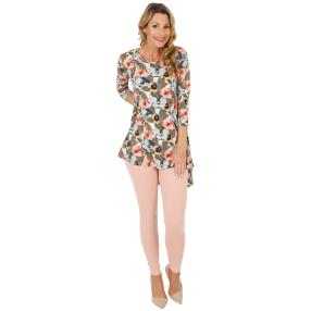 2er Set Shirt & Leggings apricot, Blumenprint