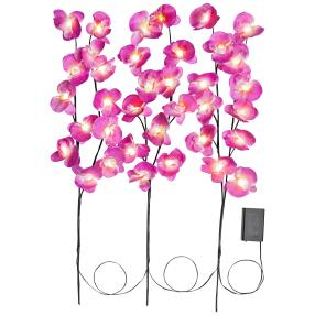LED-Lichterzweig Orchidee 3er Set