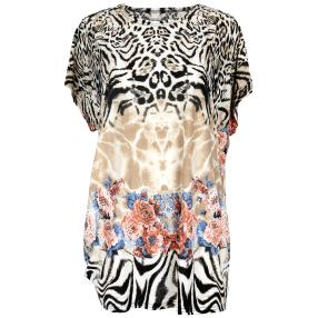 Damen-Longshirt 'Catwalk' mit Strass  multicolor