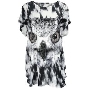 Damen-Longshirt 'Happy Owl' mit Strass Animalprint