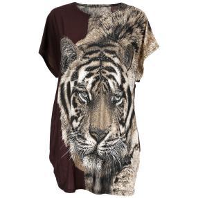 Damen-Longshirt 'Tiger' mit Strass  multicolor