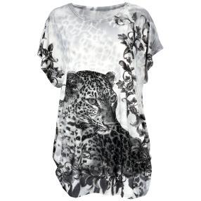 Damen-Longshirt 'Leopard' mit Strass  multicolor