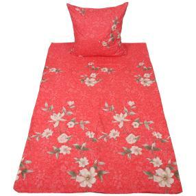 AllSeasons Bettwäsche 2-teilig, rot mit Blumen