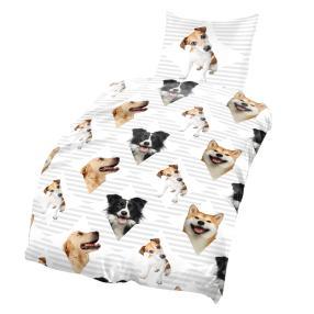 AllSeasons Bettwäsche 2tlg. weiß-gemustert Hunde