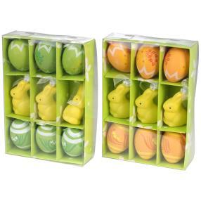 Ostereier-Set mit Osterhasen 18tlg. grün-orange