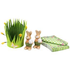 Osterkorb mit Hasen und Servietten 4er-Set