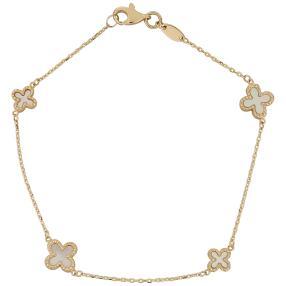 Armband Blume, 585 Gelbgold mit Perlmutt