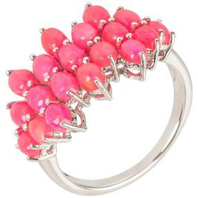 Ring 925 St. Silber rhod. Äthiopischer Opal pink