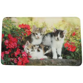 Fußmatte Blumen und Katzen