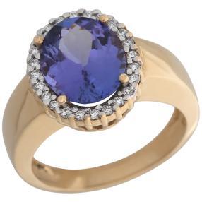 Ring 585 Gelbgold AAAA Tansanit Brillanten