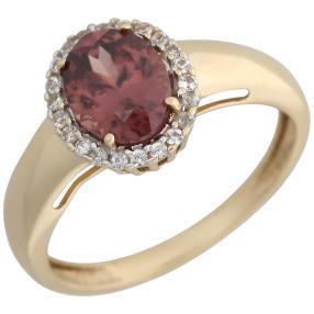 Ring 585 Gelbgold Zirkon pink