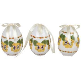 LED Eier 3er-Set Schmetterling weiß-gelb