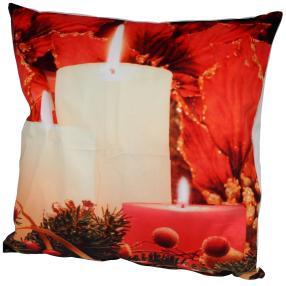 LED-Kissen Winterlicht, Kerzen, rot