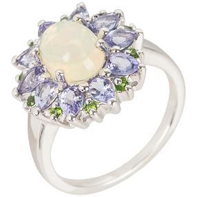 Ring 925 St. Silber rhod. Opal Tansanit