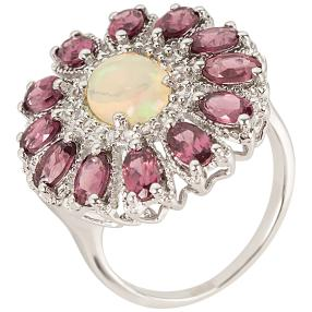 Ring 925 St. Silber rhod. Opal Rhodolith