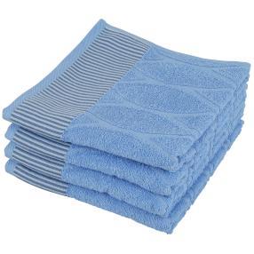 Handtuch 4-teilig, Streifen blau