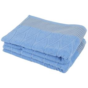 Duschtuch 2-teilig, Streifen blau
