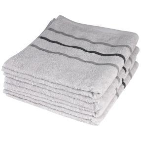Handtuch 4-teilig, hellgrau mit Streifen