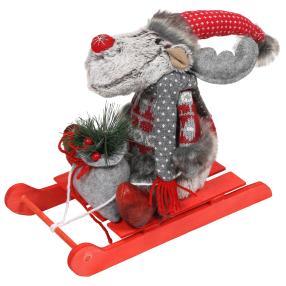 Weihnachtselch auf Schlitten
