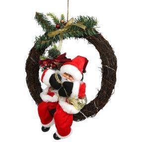 LED Weihnachtsmann im Kranz