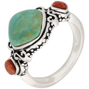 Ring 925 St. Silber Koralle+Türkis stabilisiert